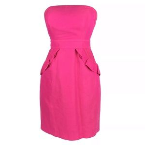 NWT J. Crew Strapless Hot Pink Dress
